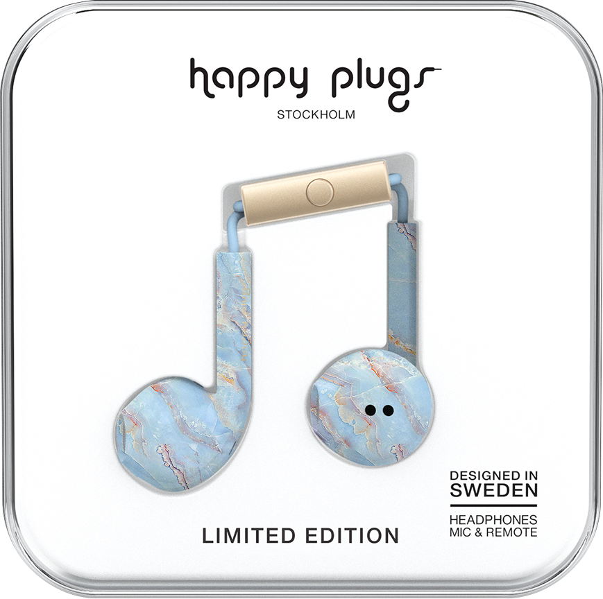 Happy Plugs Earbuds Plus with Mic - Blue Quartz BP