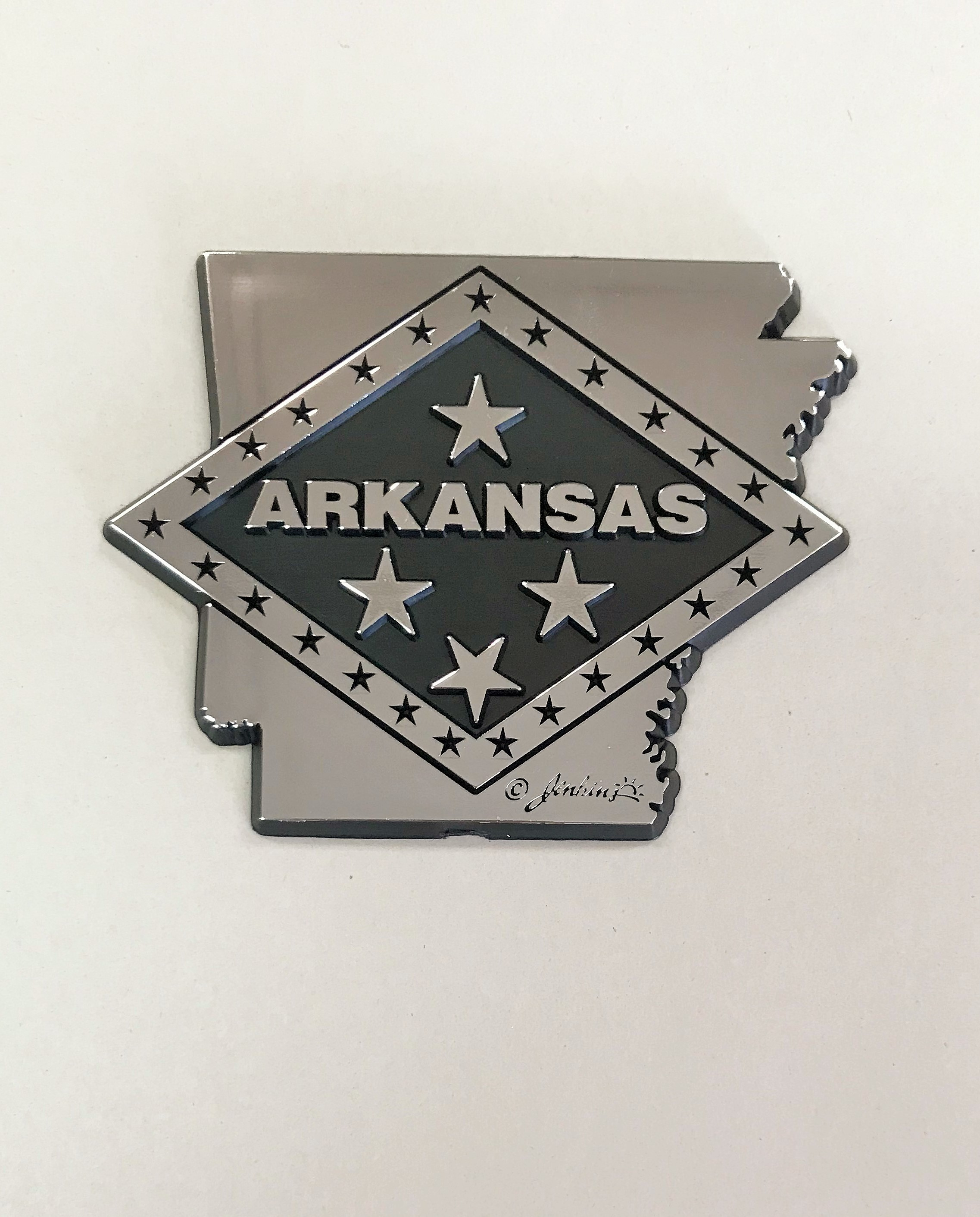 State of Arkansas with Flag Diamond Car Decal