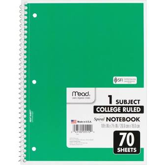 Mead Spiral Notebook, College Ruled, 1 Subject, 70 Sheets