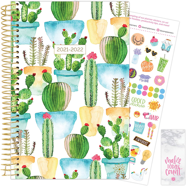 White Cacti 2021-22 Soft Cover Planner