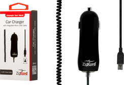 ZipKord USB Car Charger with Coiled Cable