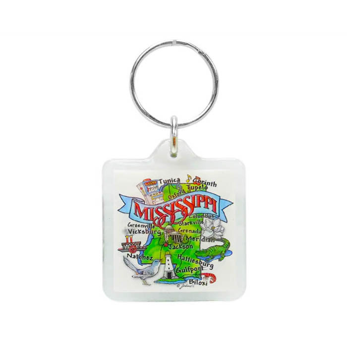 State Map Lucite Keychain