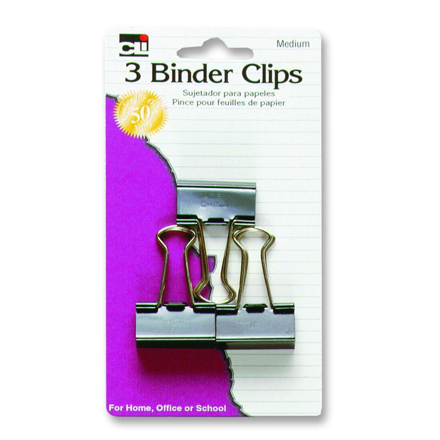 Charles Leonard Binder Clips - Black Medium 3Pk BP