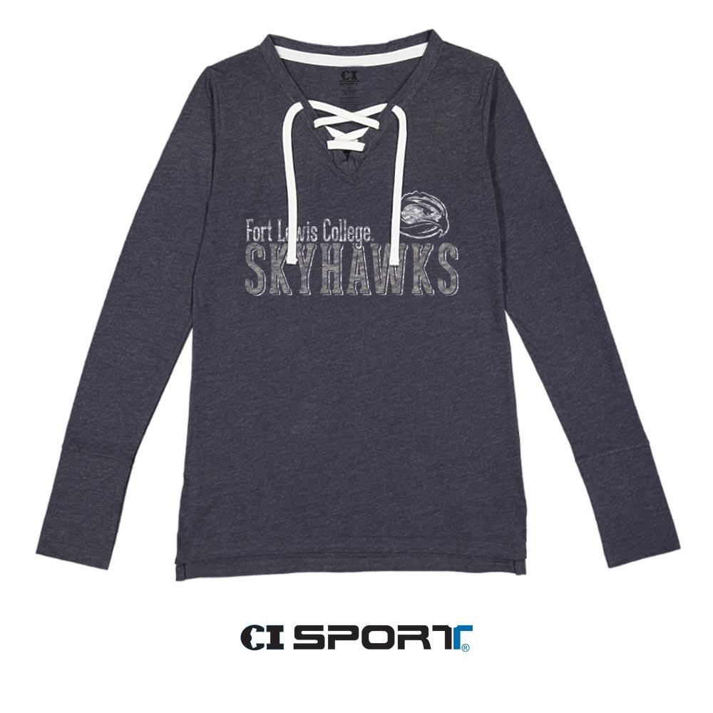 Skyhawks Ladies Lace Up Long Sleeve Shirt