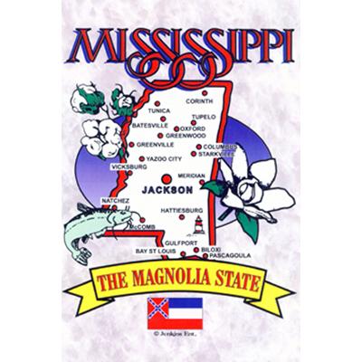 Mississippi Map Postcard