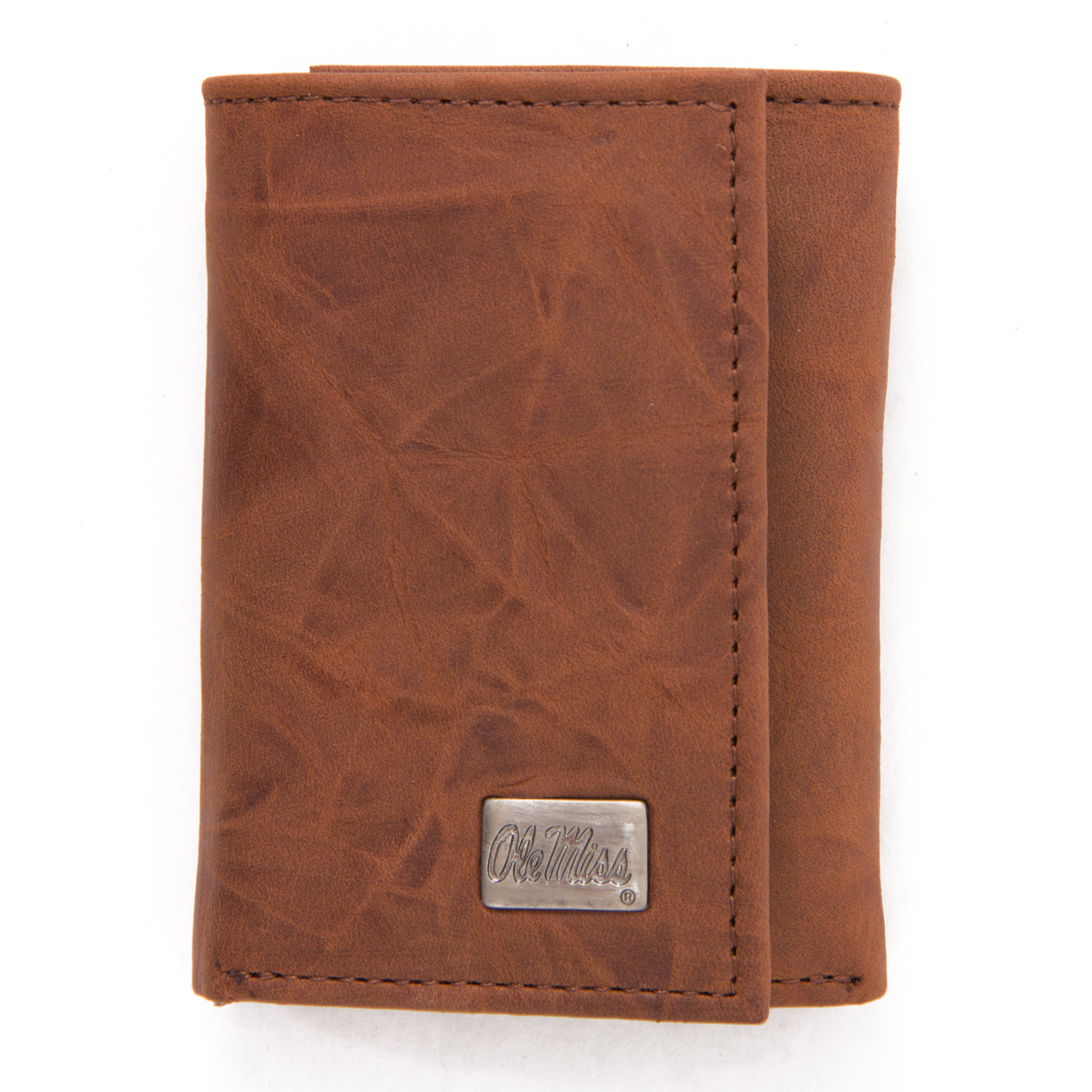 Ole Miss Genuine Leather Tri-Fold Wallet