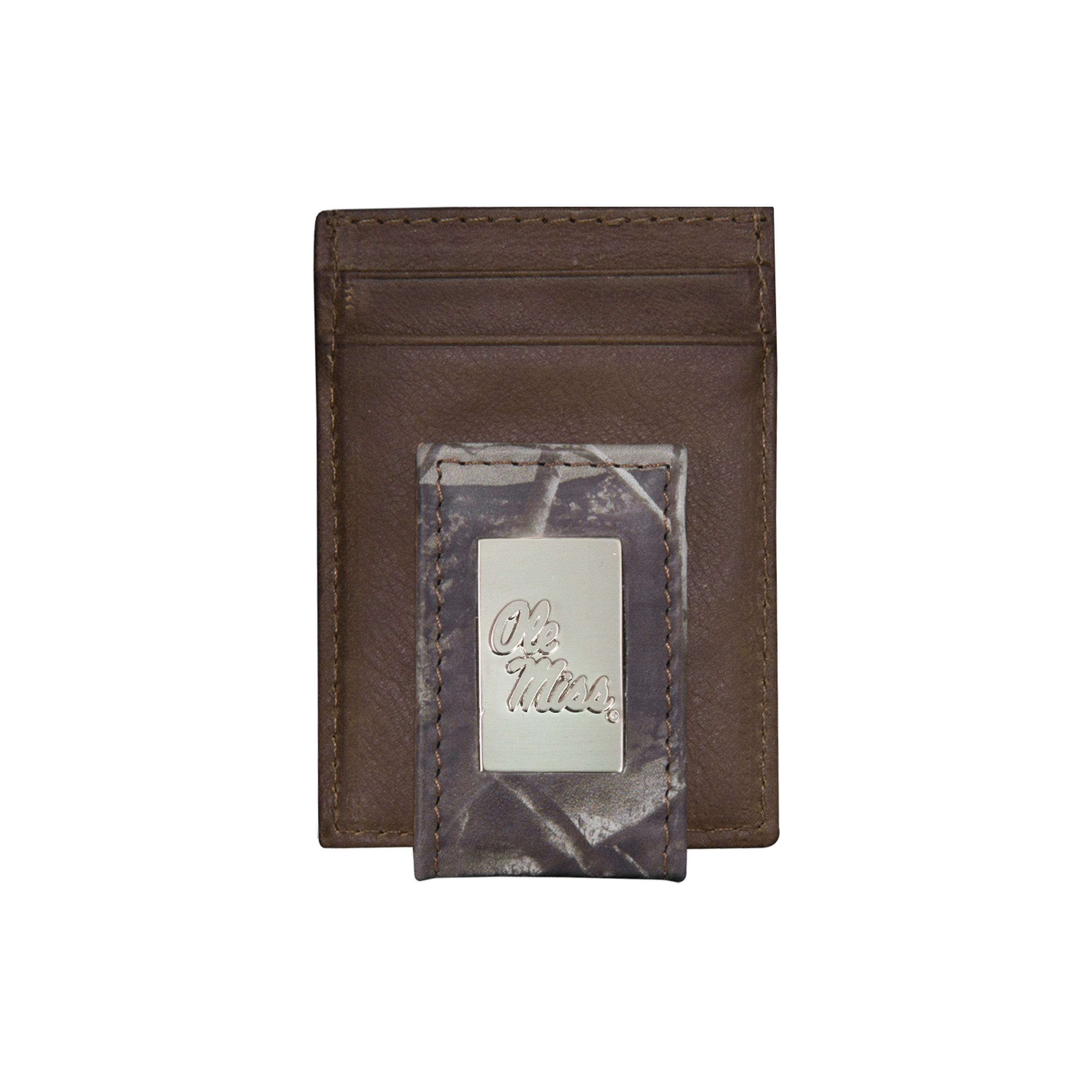 Ole Miss Genuine Leather, Camo Front Pocket Wallet