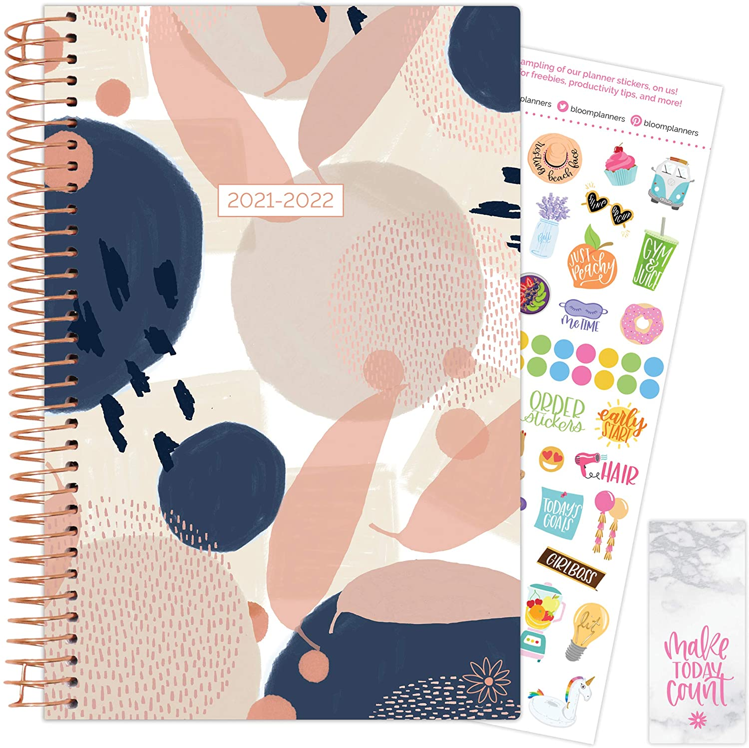 Navy Modern Abstract 2021-22 Soft Cover Planner