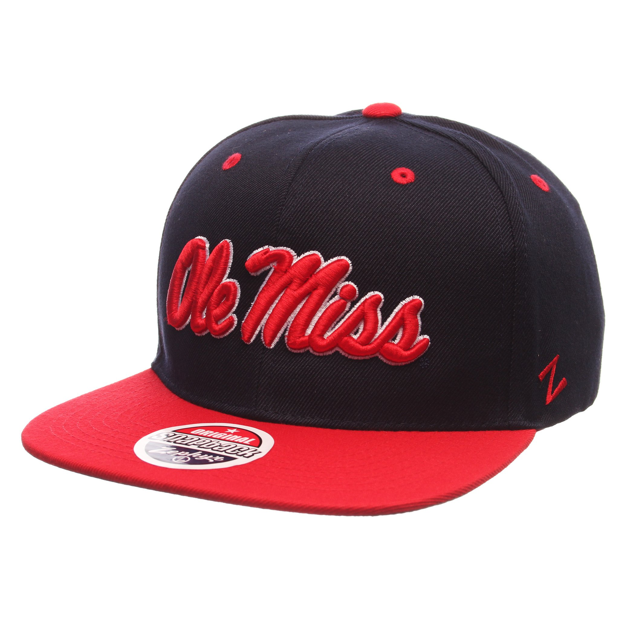 Z11 Flat Bill Snapback - Navy and Red Script