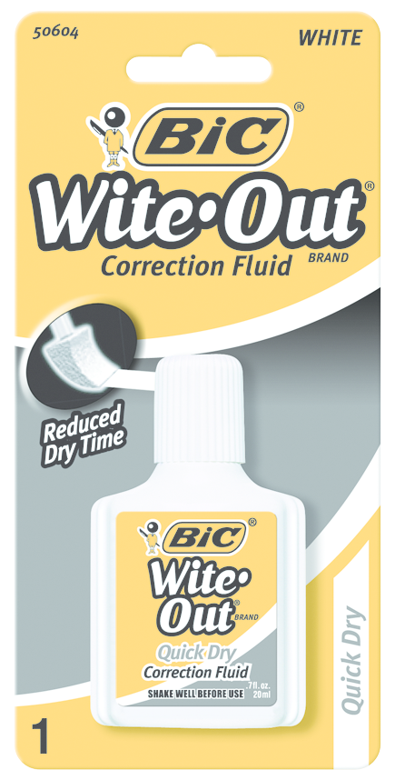 BIC Wite-Out Brand Quick-Dry Correction Fluid - White 20mL 1Pk BP