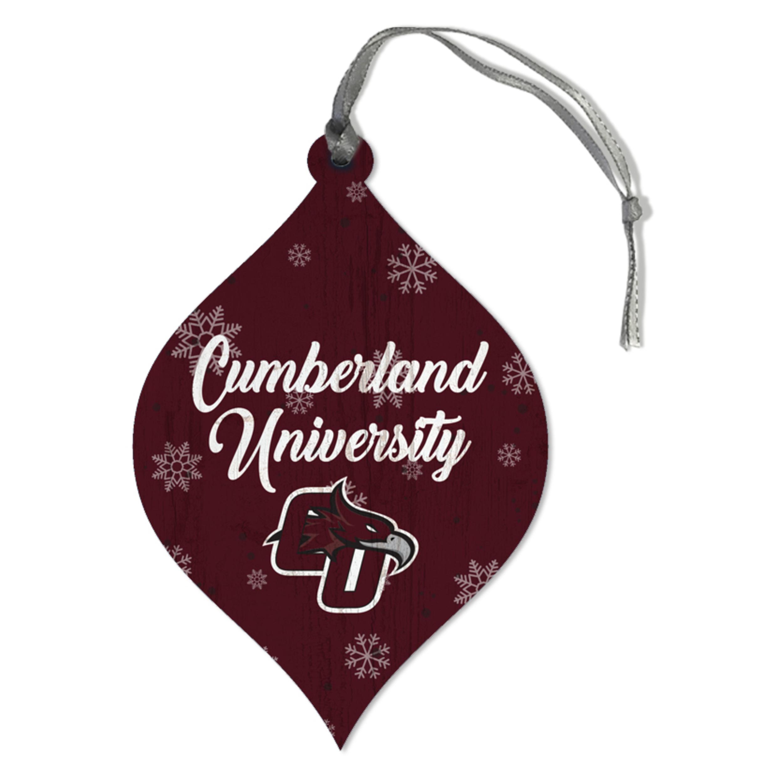 Cumberland University Snowflakes Teardrop Ornament