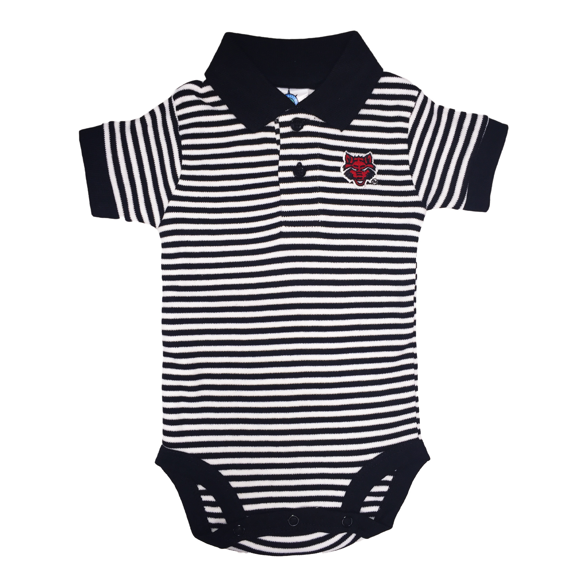 Red Wolves Striped Polo Bodysuit