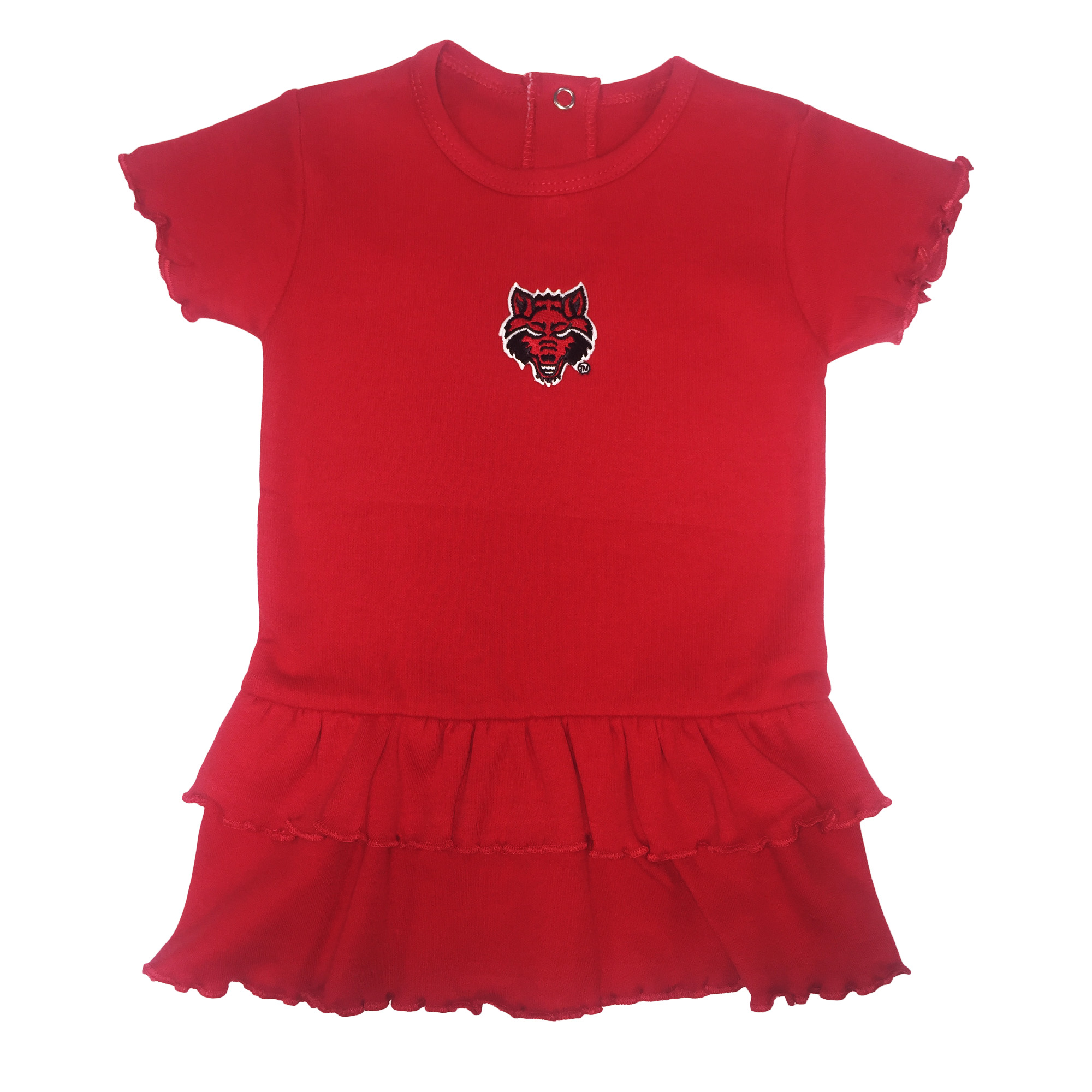 Red Wolves Double Ruffle Dress