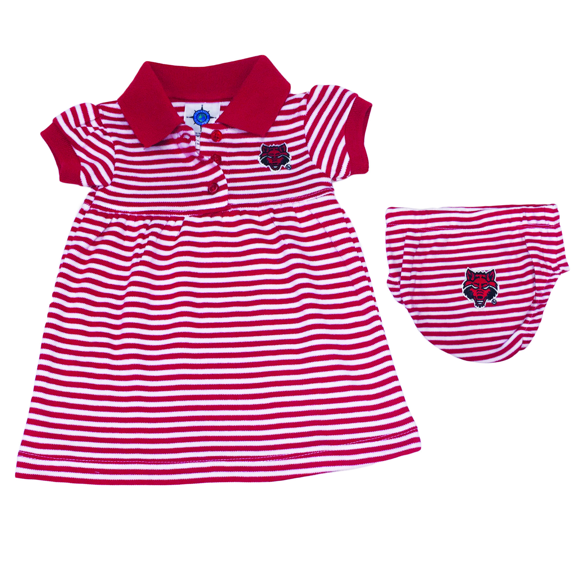 Red Wolves Striped Gameday Dress/Bloomer