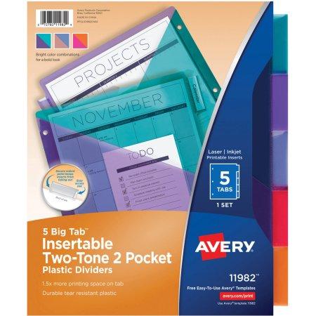 2 Pocket- 5 Tab Plastic Divider