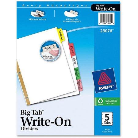 Write-On Tab Dividers, 5 Tab