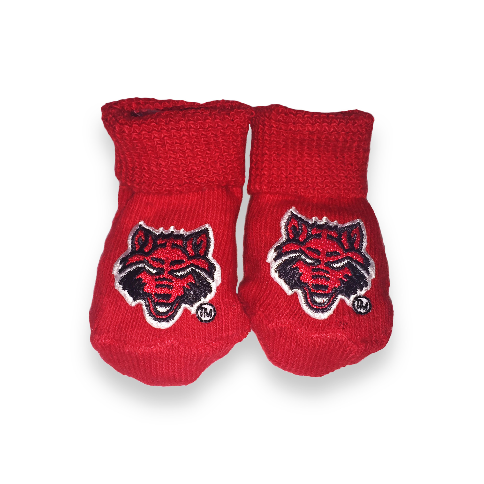 Red Wolves Newborn Booties