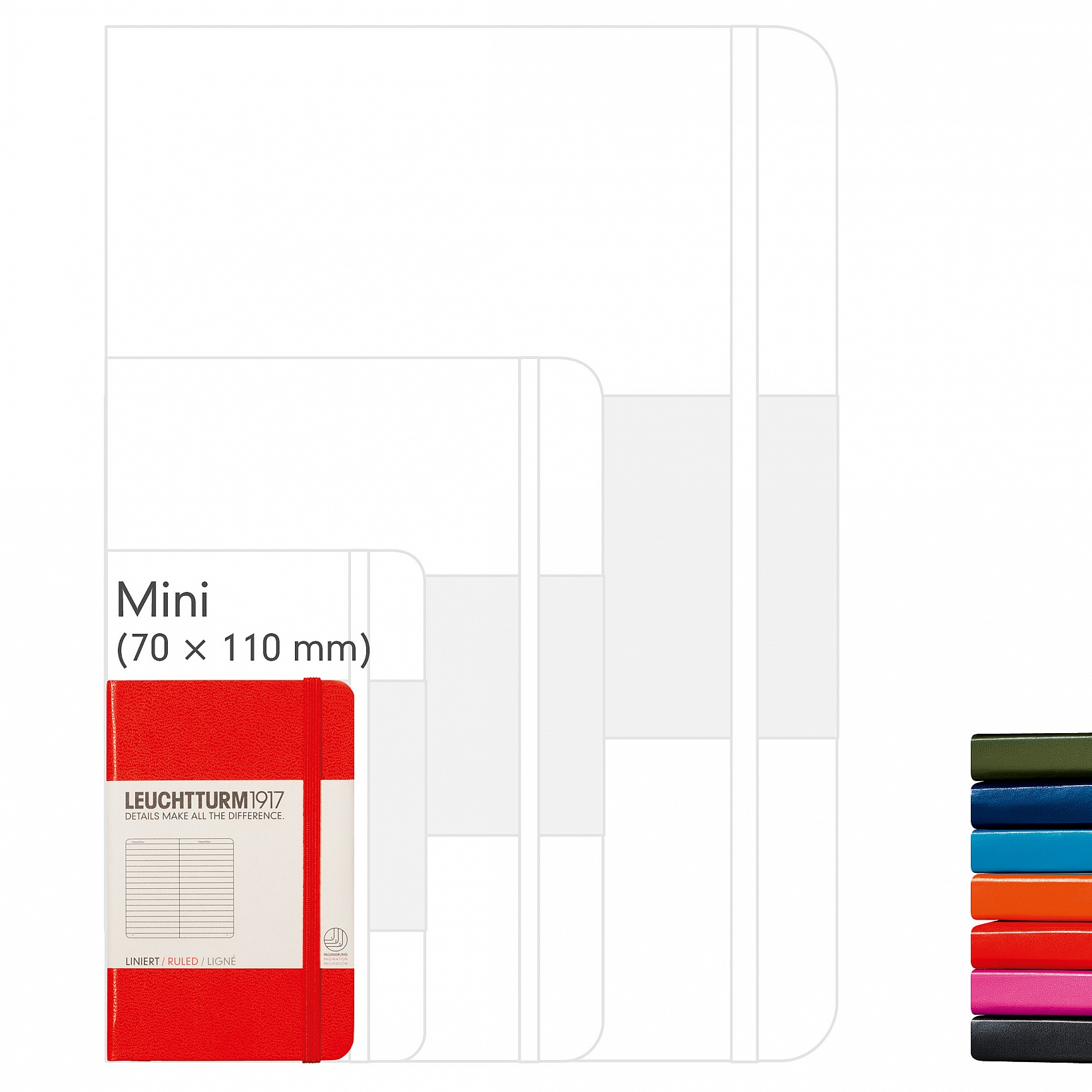 NOTEBOOK MINI (A7), HARDCOVER, 169 NUMBERED PAGES