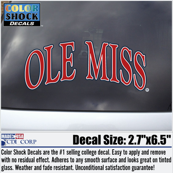 Arched Ole Miss Red Decal Large