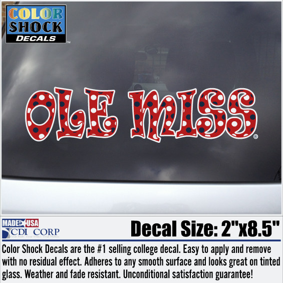 Girly Red Ole Miss Decal w/Polka Dots