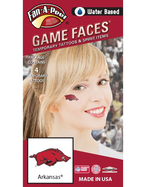 UA Razorbacks Water Based Temporary Tattoos