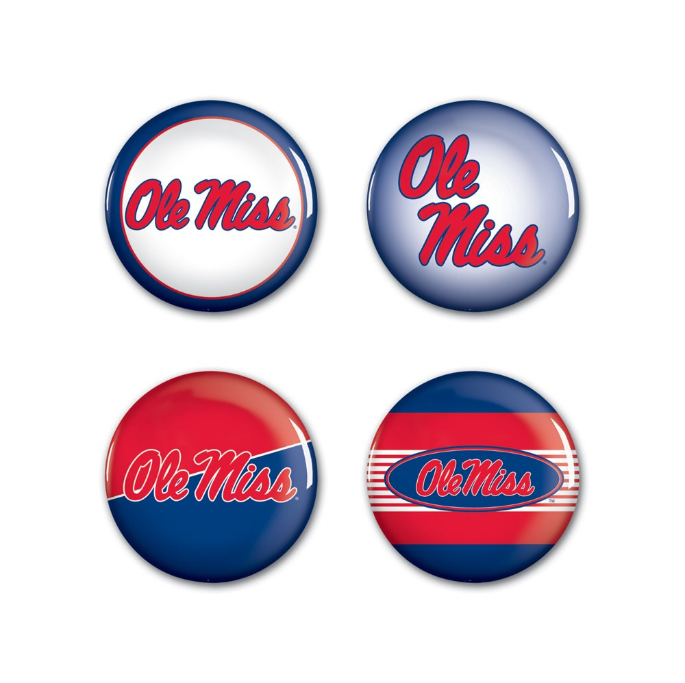 4 Pack Ole Miss Buttons