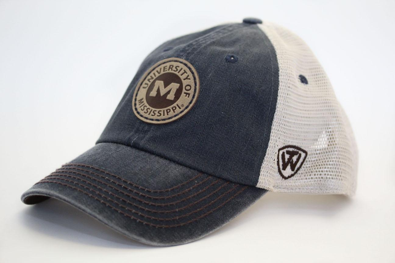 Weathered Denim Round Patch Trucker Hat