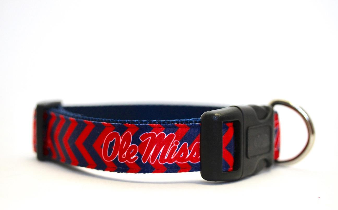 Dog Collar - Red and Blue Chevron