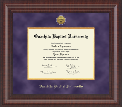 OUACHITA BAPTIST UNIVERSITY PRESIDENTIAL DIPLOMA FRAME WITH PURPLE SUEDE AND GOLD WOOD MATS