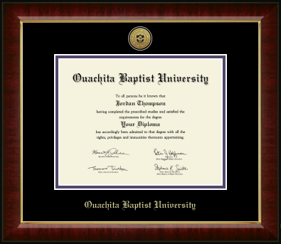 OUACHITA BAPTIST UNIVERSITY GOLD ENGRAVED SEAL MEDALLION DIPLOMA FRAME WITH BLACK AND PURPLE MATS