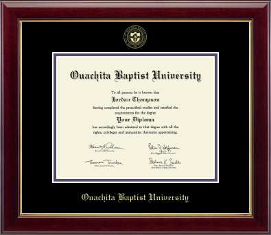 OUACHITA BAPTIST UNIVERSITY GOLD EMBOSSED SEAL DIPLOMA FRAME WITH BLACK AND PURPLE MATS