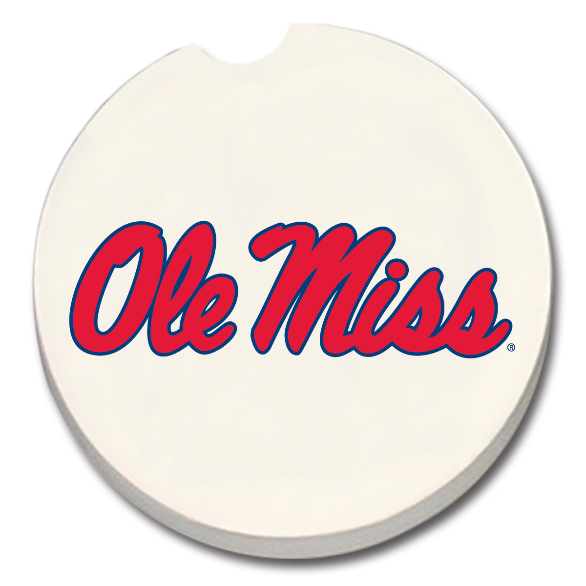 White Ole Miss Car Coaster