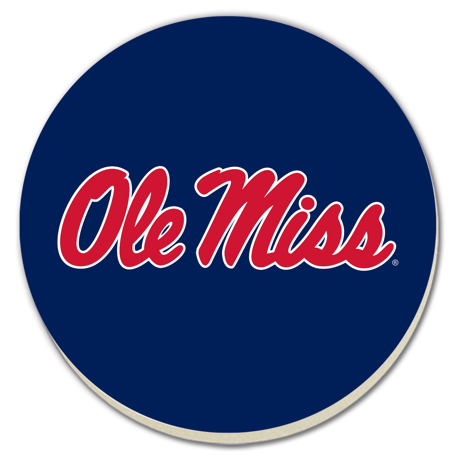 Round Blue Ole Miss Coasters 4pk