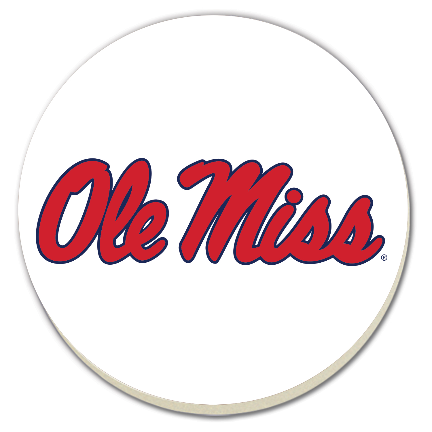 Round White Ole Miss Coasters 4pk