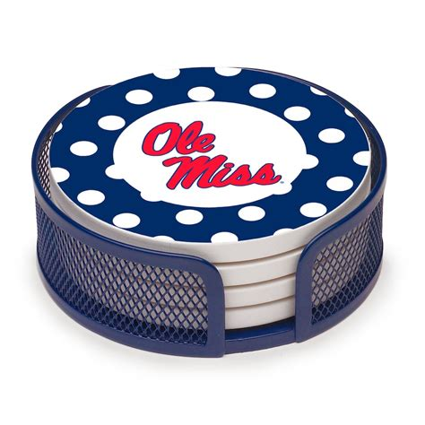 Blue Polka Dot Coaster Set with Holder