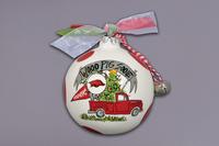 Orn w ribbon, bells and Gift Box Truck