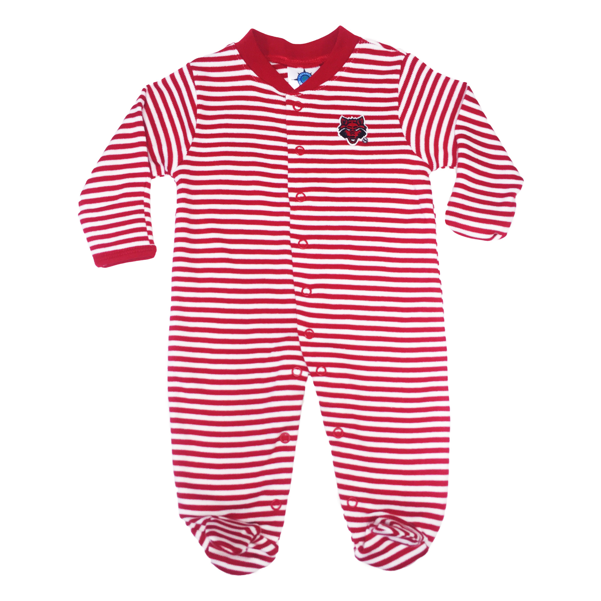 Red Wolves Striped Footed Romper
