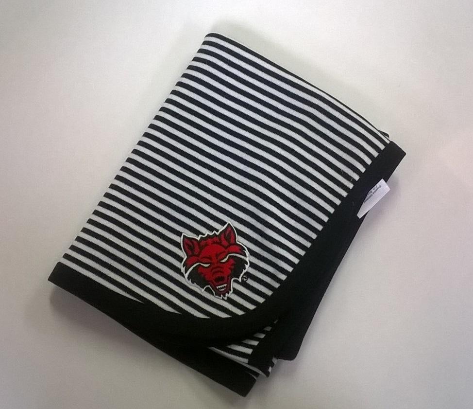 Red Wolves Striped Blanket