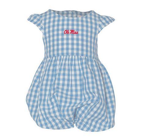 Gigi Infant Girls Gingham Romper Carolina Blue