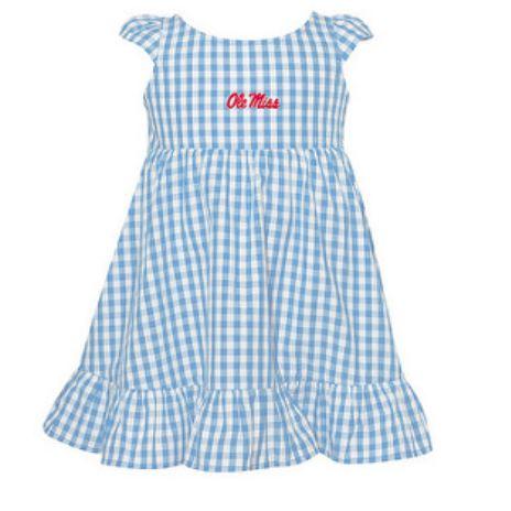 Gigi Gingham Toddler Dress Carolina Blue