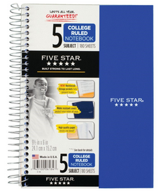 FIVE SUBJECT NOTEBOOK