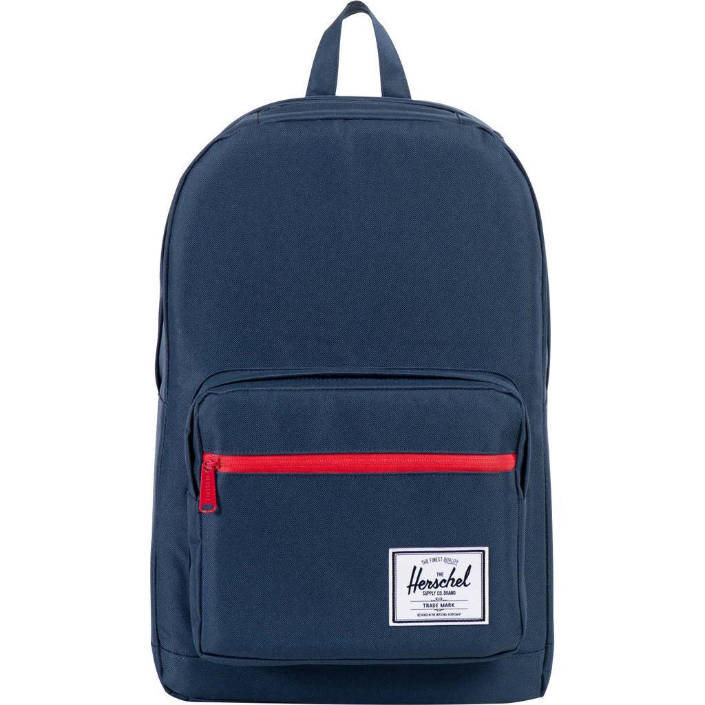 Pop Quiz Backpack Navy with Red Zipper