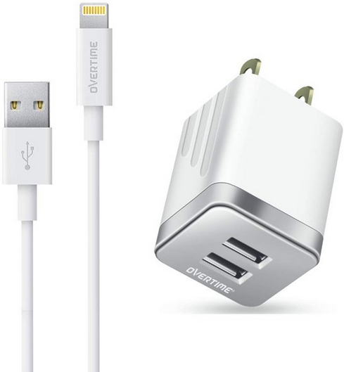 DUAL USB CHARGER WITH 4FT LIGHTENING CABLE