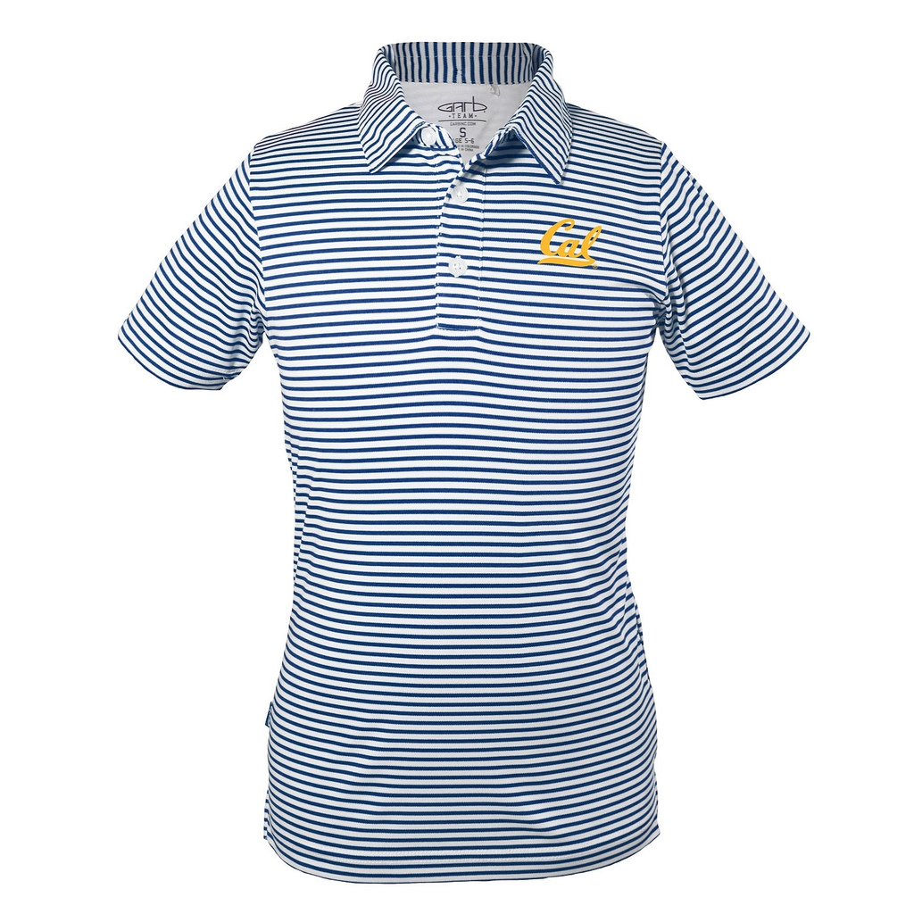 University of California Berkeley Carson Youth Boys 100% Poly Feeder Stripe Polo