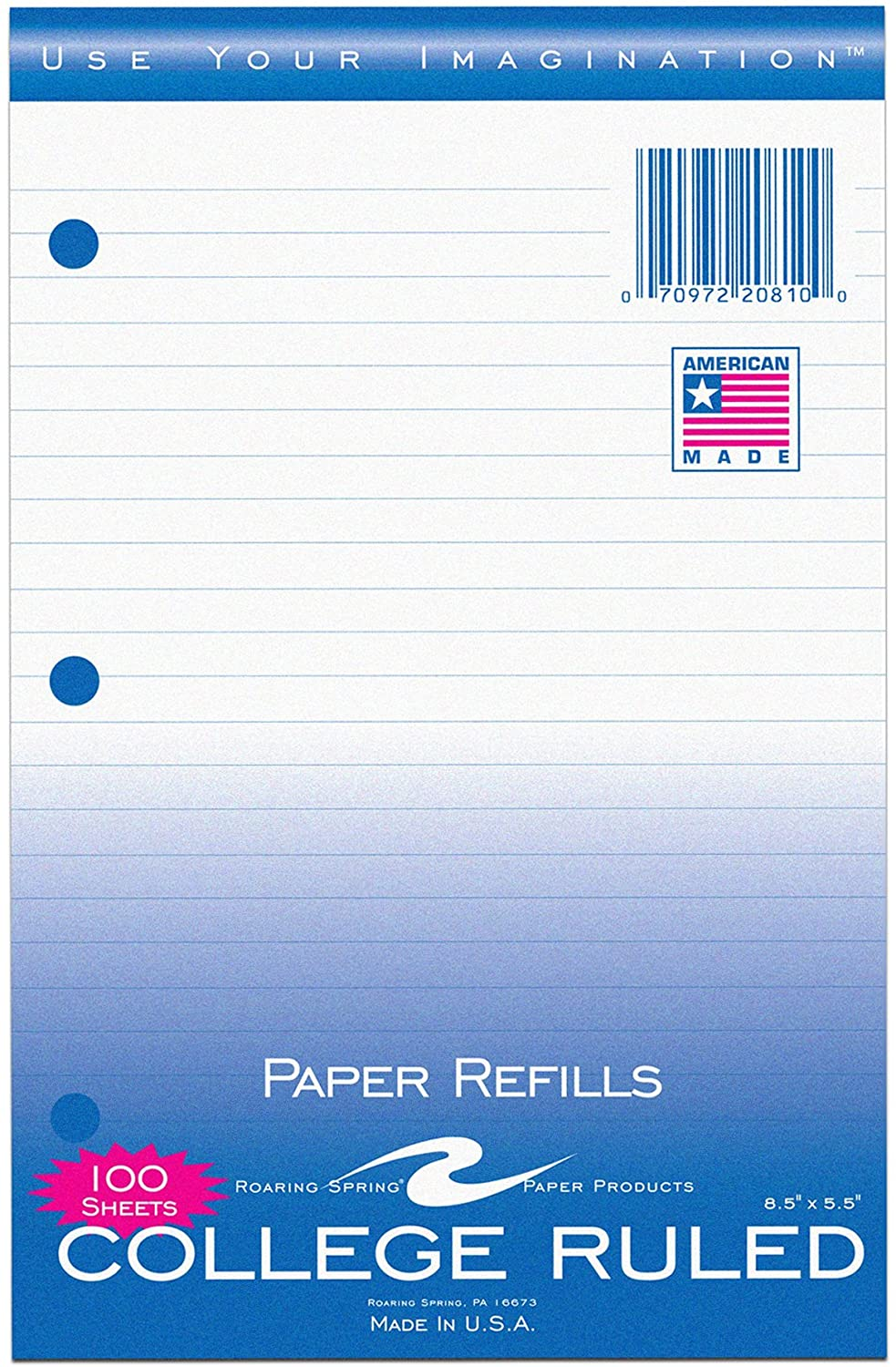 100 Sheets - College Ruled Notebook Filler Paper