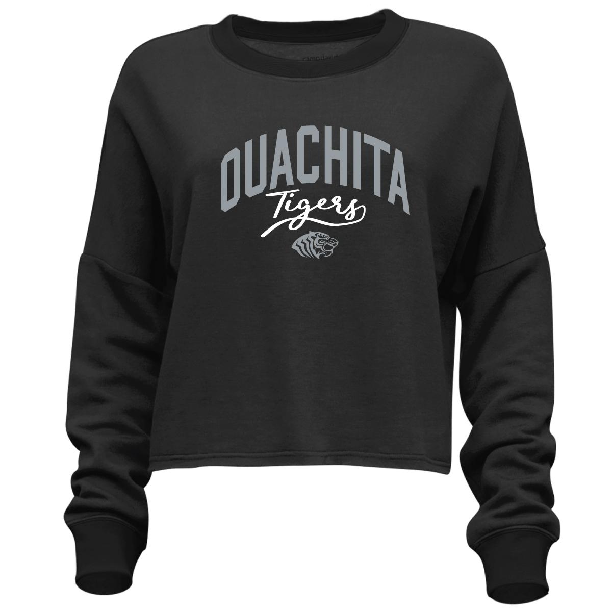 OUACHITA TIGERS FLASH DANCE CROPPED LONG SLEEVE T-SHIRT