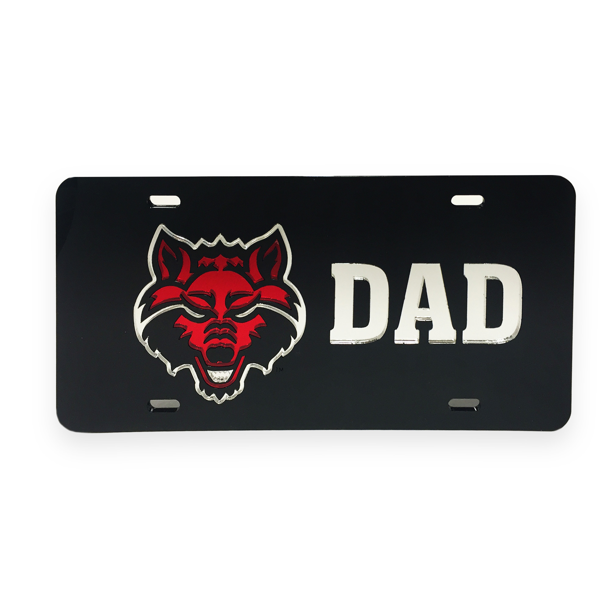 Red Wolves Dad Mirrored Plate