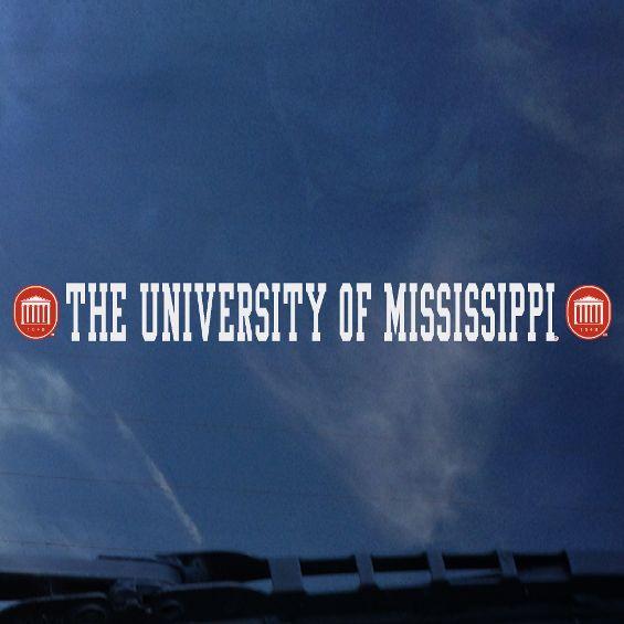 University of Mississippi Strip Decal White