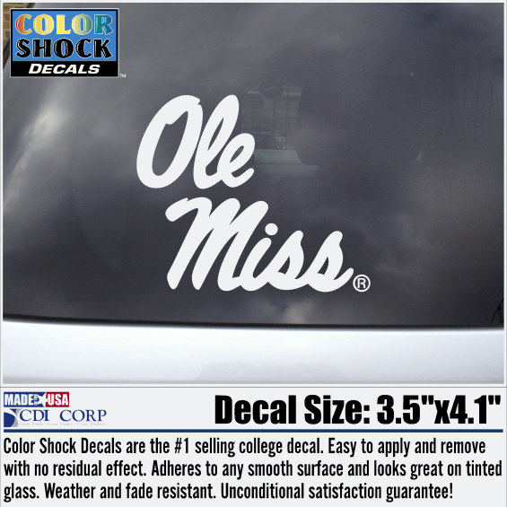Ole Miss Script Decal White