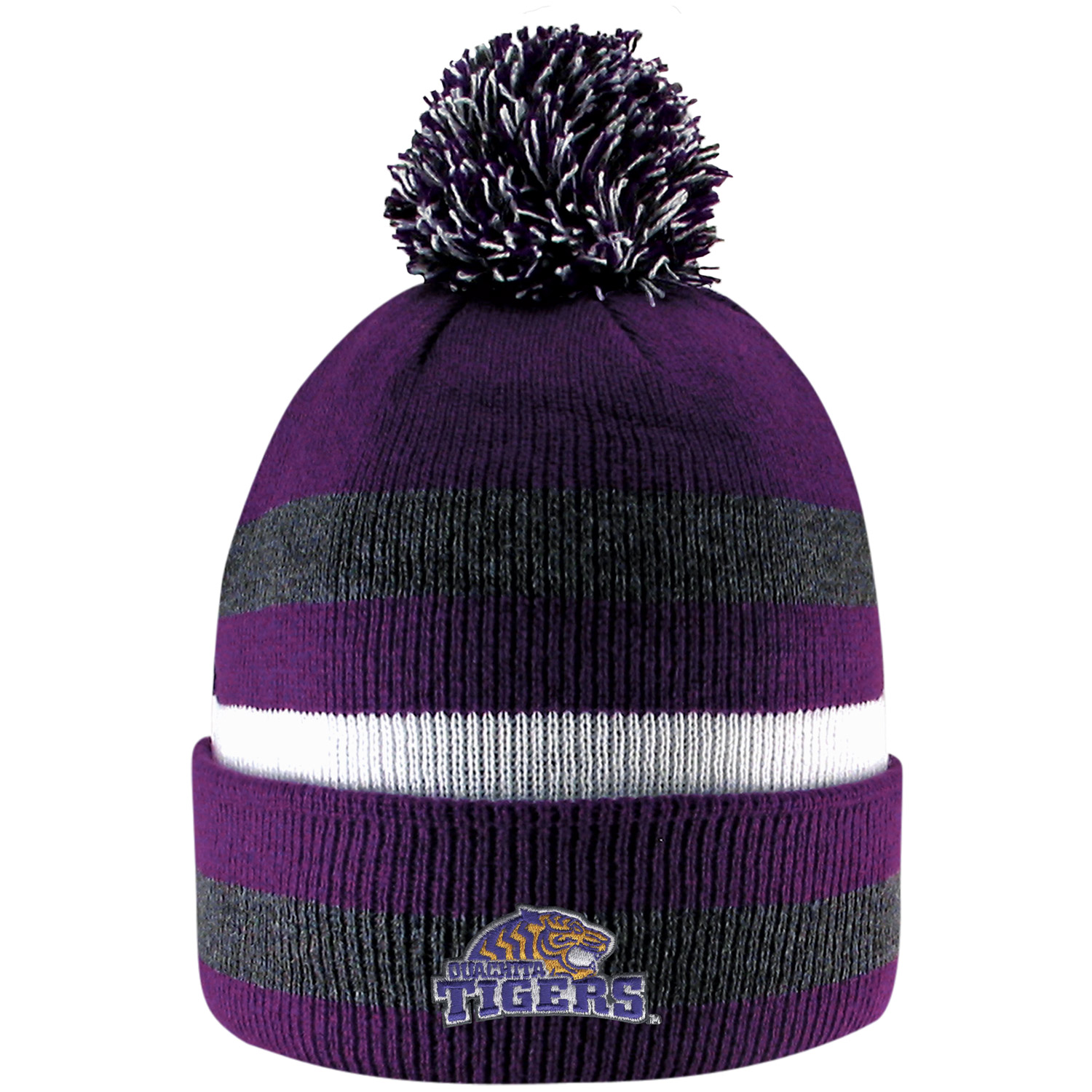 OUACHITA TIGERS PRIMETIME STRIPED KNIT CUFF POM BEANIE